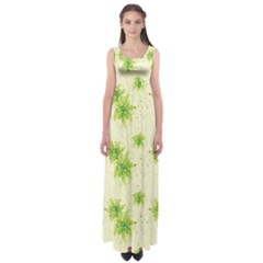 Leaf Green Star Beauty Empire Waist Maxi Dress