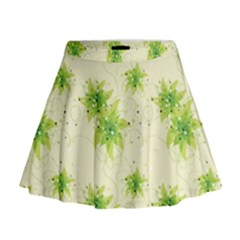 Leaf Green Star Beauty Mini Flare Skirt
