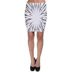 Line Black Sun Arrow Bodycon Skirt