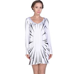 Line Black Sun Arrow Long Sleeve Nightdress