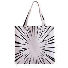 Line Black Sun Arrow Zipper Grocery Tote Bag