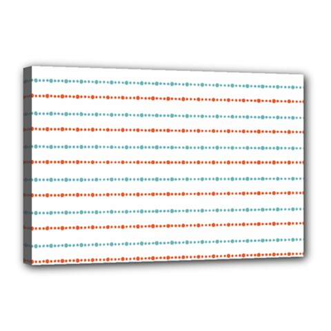 Line Polka Dots Blue Red Sexy Canvas 18  X 12