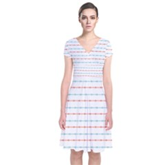 Line Polka Dots Blue Red Sexy Short Sleeve Front Wrap Dress