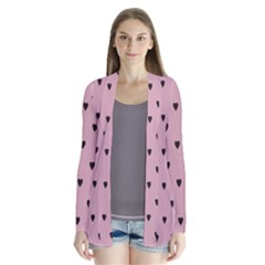 Love Black Pink Valentine Drape Collar Cardigan