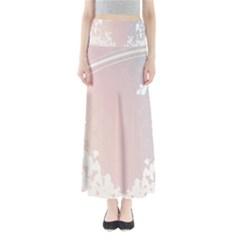 Love Heart Flower Purple Sexy Rose Full Length Maxi Skirt