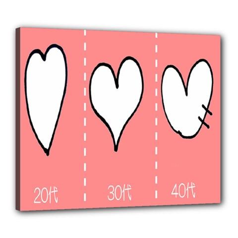 Love Heart Valentine Pink White Sexy Canvas 24  X 20