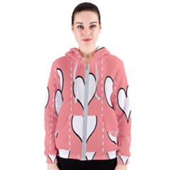 Love Heart Valentine Pink White Sexy Women s Zipper Hoodie