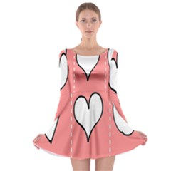 Love Heart Valentine Pink White Sexy Long Sleeve Skater Dress
