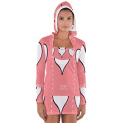 Love Heart Valentine Pink White Sexy Long Sleeve Hooded T Shirt