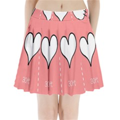 Love Heart Valentine Pink White Sexy Pleated Mini Skirt