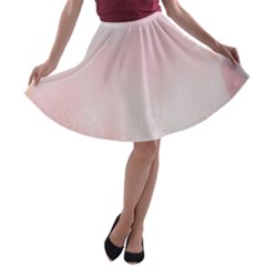Love Heart Pink Valentine Flower Leaf A Line Skater Skirt