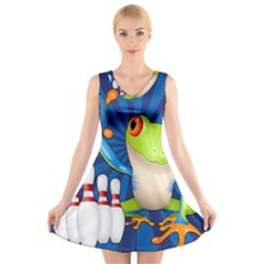 Tree Frog Bowling V Neck Sleeveless Skater Dress