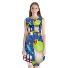 Tree Frog Bowling Sleeveless Chiffon Dress