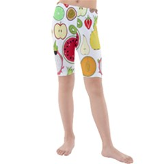 Mango Fruit Pieces Watermelon Dragon Passion Fruit Apple Strawberry Pineapple Melon Kids  Mid Length Swim Shorts