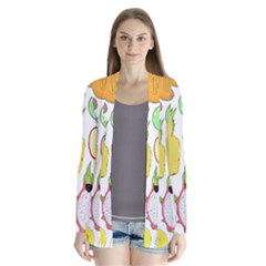 Mango Fruit Pieces Watermelon Dragon Passion Fruit Apple Strawberry Pineapple Melon Drape Collar Cardigan