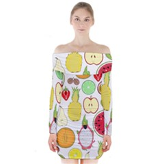 Mango Fruit Pieces Watermelon Dragon Passion Fruit Apple Strawberry Pineapple Melon Long Sleeve Off Shoulder Dress