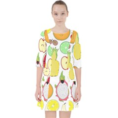 Mango Fruit Pieces Watermelon Dragon Passion Fruit Apple Strawberry Pineapple Melon Pocket Dress