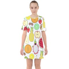 Mango Fruit Pieces Watermelon Dragon Passion Fruit Apple Strawberry Pineapple Melon Sixties Short Sleeve Mini Dress