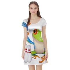 Tree Frog Bowler Short Sleeve Skater Dress