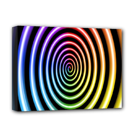 Hypnotic Circle Rainbow Deluxe Canvas 16  X 12