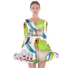 Tree Frog Bowler Long Sleeve Skater Dress