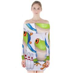 Tree Frog Bowler Long Sleeve Off Shoulder Dress