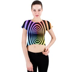 Hypnotic Circle Rainbow Crew Neck Crop Top
