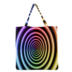 Hypnotic Circle Rainbow Grocery Tote Bag