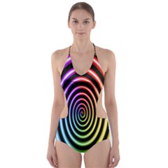 Hypnotic Circle Rainbow Cut Out One Piece Swimsuit