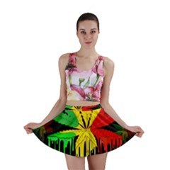 Marijuana Cannabis Rainbow Love Green Yellow Red Black Mini Skirt