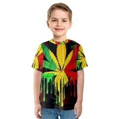Marijuana Cannabis Rainbow Love Green Yellow Red Black Kids  Sport Mesh Tee
