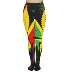 Marijuana Cannabis Rainbow Love Green Yellow Red Black Women s Tights