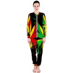Marijuana Cannabis Rainbow Love Green Yellow Red Black Onepiece Jumpsuit (ladies)
