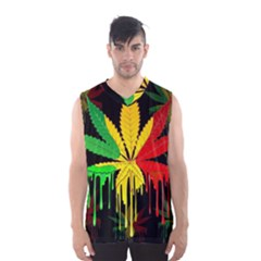 Marijuana Cannabis Rainbow Love Green Yellow Red Black Men s Basketball Tank Top