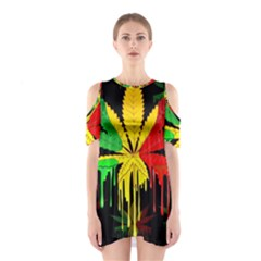 Marijuana Cannabis Rainbow Love Green Yellow Red Black Shoulder Cutout One Piece