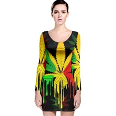 Marijuana Cannabis Rainbow Love Green Yellow Red Black Long Sleeve Velvet Bodycon Dress