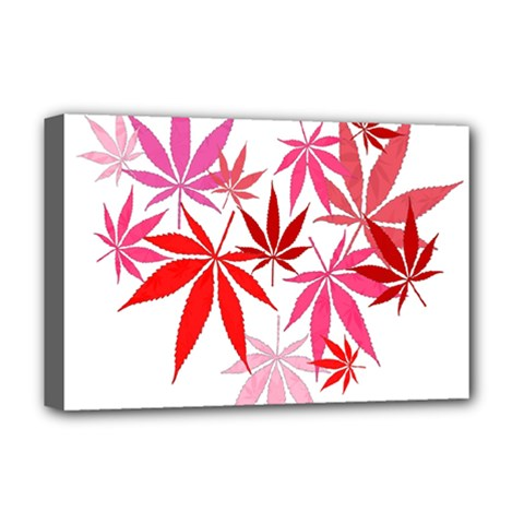Marijuana Cannabis Rainbow Pink Love Heart Deluxe Canvas 18  X 12