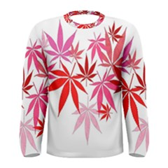 Marijuana Cannabis Rainbow Pink Love Heart Men s Long Sleeve Tee