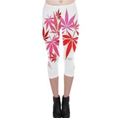 Marijuana Cannabis Rainbow Pink Love Heart Capri Leggings