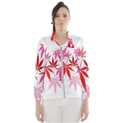 Marijuana Cannabis Rainbow Pink Love Heart Wind Breaker (women)