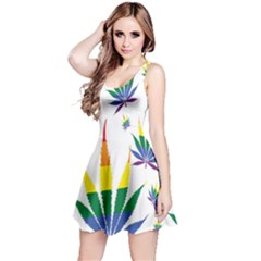 Marijuana Cannabis Rainbow Love Green Yellow Red White Leaf Reversible Sleeveless Dress