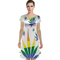 Marijuana Cannabis Rainbow Love Green Yellow Red White Leaf Cap Sleeve Nightdress