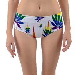 Marijuana Cannabis Rainbow Love Green Yellow Red White Leaf Reversible Mid Waist Bikini Bottoms
