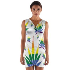 Marijuana Cannabis Rainbow Love Green Yellow Red White Leaf Wrap Front Bodycon Dress