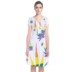 Marijuana Cannabis Rainbow Love Green Yellow Red White Leaf Short Sleeve Front Wrap Dress