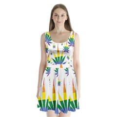 Marijuana Cannabis Rainbow Love Green Yellow Red White Leaf Split Back Mini Dress
