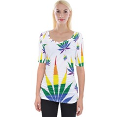 Marijuana Cannabis Rainbow Love Green Yellow Red White Leaf Wide Neckline Tee