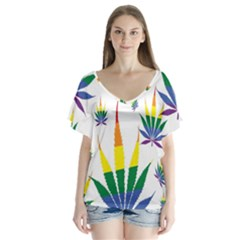 Marijuana Cannabis Rainbow Love Green Yellow Red White Leaf V Neck Flutter Sleeve Top
