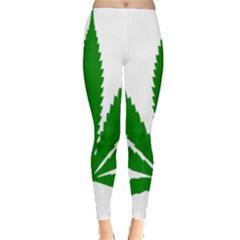 Marijuana Weed Drugs Neon Cannabis Green Leaf Sign Leggings