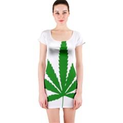 Marijuana Weed Drugs Neon Cannabis Green Leaf Sign Short Sleeve Bodycon Dress